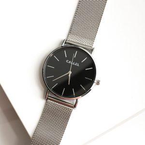 Callel Mens Silver Stainless Steel Mesh Bracelet Watch